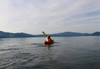 Kayak on calm Lake Almanor Water